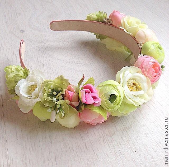 Ободок с цветами зефирно-мятный, Ободки, Адлер,  Фото №1