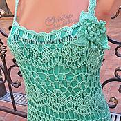 Одежда ручной работы. Ярмарка Мастеров - ручная работа Agostina - вязаное летнее платье, сарафан крючком, мятное. Handmade.