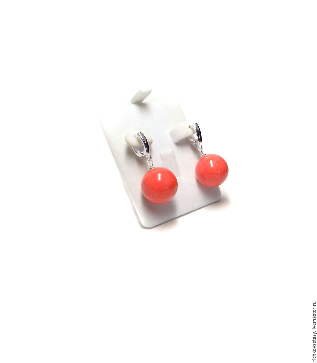 Earrings handmade. Livemaster - handmade. Buy Earrings Coral, tinted agate.Coral, bright earrings, jewelry with agate