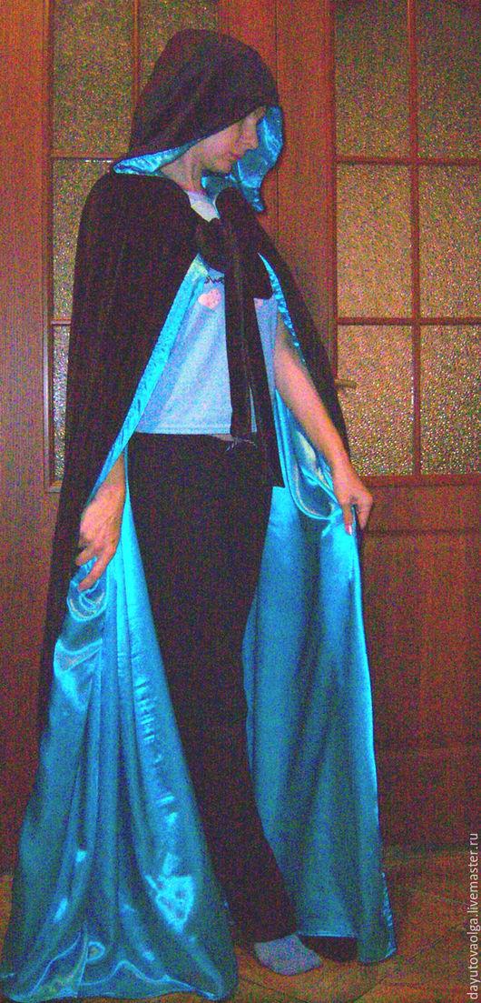 Готика ручной работы. Ярмарка Мастеров - ручная работа. Купить Мантия бархатная черно-голубая. Handmade. Мантия, вампир, сценический