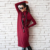 Одежда handmade. Livemaster - original item Copy of Burgundy Oversize Dress. Handmade.