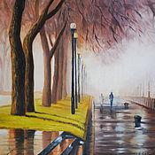 Картины и панно handmade. Livemaster - original item Oil painting of the Rostov quay. Fog.. Handmade.