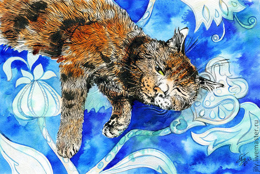 """Животные ручной работы. Ярмарка Мастеров - ручная работа. Купить Картина """"Разбудили"""". Handmade. Кот, сон, кошка, подарок, орнамент"""