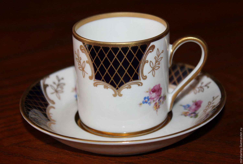 Винтажная посуда. Ярмарка Мастеров - ручная работа. Купить Винтаж: Красивые кофейные пары, кобальт, золото, цветы, Reichenbach, Германия. Handmade.