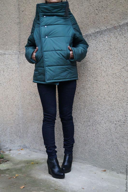 Верхняя одежда ручной работы. Ярмарка Мастеров - ручная работа. Купить Зеленая модная куртка/Зимная куртка/F1530. Handmade. Зеленый, шарф