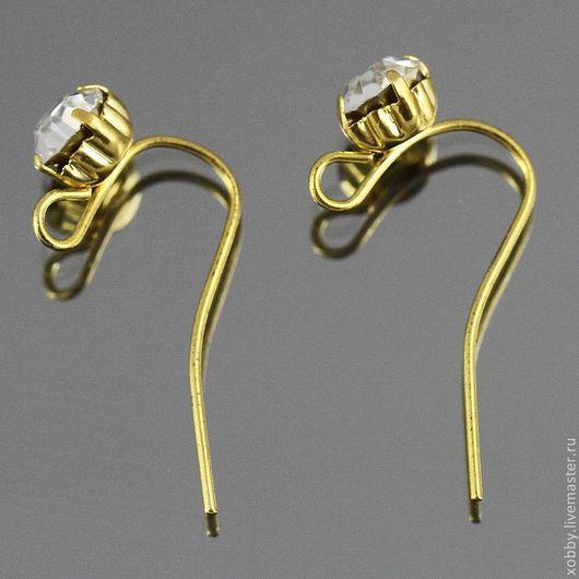 Швензы простые крючки без замков с золотым покрытием gold plated и крупными стразами для сборки сережек