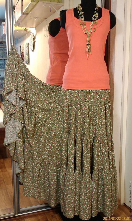 Юбки ручной работы. Ярмарка Мастеров - ручная работа. Купить Ярусная юбка из штапеля (мелкие цветы на оливковом). Handmade. Цветочный
