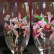 """Свадебный салон ручной работы. Ярмарка Мастеров - ручная работа Стеклянные бокалы """"Я люблю тебя всем сердцем/ Розовые орхидеи&amp. Handmade."""