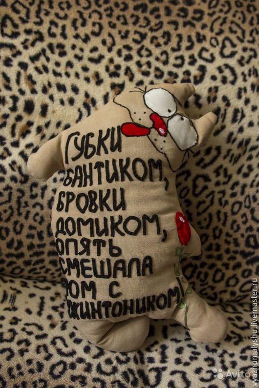 Подушка-кот `Губки бантиком`