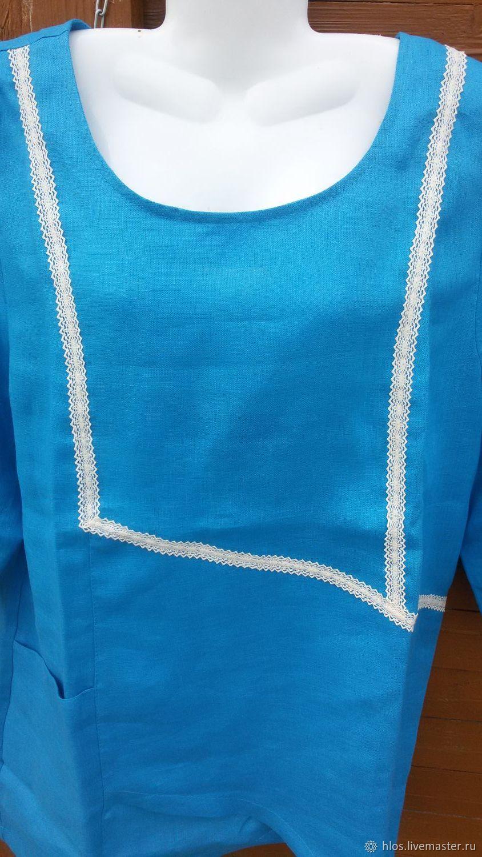 Linen tunic blouse, Blouses, Ivanovo,  Фото №1
