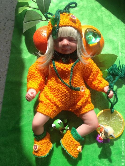 """Одежда для кукол ручной работы. Ярмарка Мастеров - ручная работа. Купить """"Апельсиновое Сердце"""" одежда для кукол.. Handmade. Оранжевый, пинетки"""