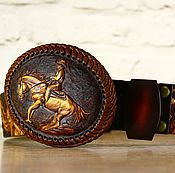 "Аксессуары handmade. Livemaster - original item Author`s belt with embossing for the ""Real COWBOY"". Handmade."