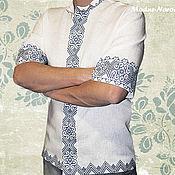 Одежда ручной работы. Ярмарка Мастеров - ручная работа Рубашки с коротким рукавом МОДНА-НАРОДНА Белая рубашка Льняная рубашка. Handmade.