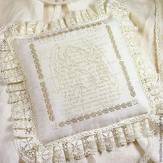 Текстиль, ковры ручной работы. Ярмарка Мастеров - ручная работа. Купить Вышитая подушка Разговор с ангелом. Handmade. Подушка