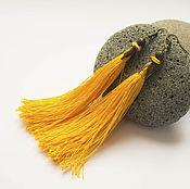 Украшения ручной работы. Ярмарка Мастеров - ручная работа Серьги кисти шелковые желтые купить. Handmade.