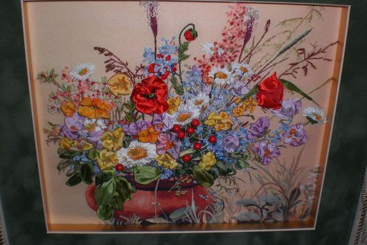 Картины цветов ручной работы. Ярмарка Мастеров - ручная работа. Купить Цветы луговые Вышивка. Handmade. Вышивка лентами, женщинам