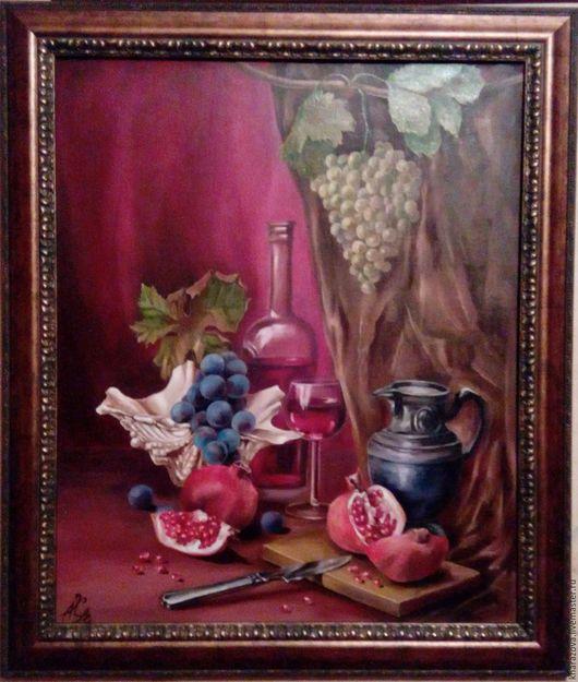 Натюрморт ручной работы. Ярмарка Мастеров - ручная работа. Купить Натюрморт с вином. Handmade. Бордовый