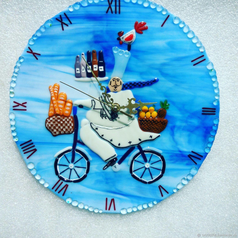 Часы для дома ручной работы. Ярмарка Мастеров - ручная работа. Купить Часы настенные из стекла в технике фьюзинг Весёлый повар. Handmade.