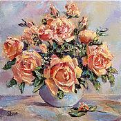 Картины и панно handmade. Livemaster - original item Oil painting rose flowers, bouquet in vase painting, order painting. Handmade.