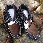 """Обувь ручной работы. Ярмарка Мастеров - ручная работа Оригинальные кожаные ботиночки """"Crazy Brown Mocs"""". Handmade."""