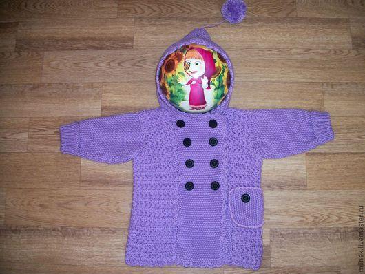 Верхняя одежда ручной работы. Ярмарка Мастеров - ручная работа. Купить Вязаное пальто для девочки. Handmade. Сиреневый, пальто для девочки