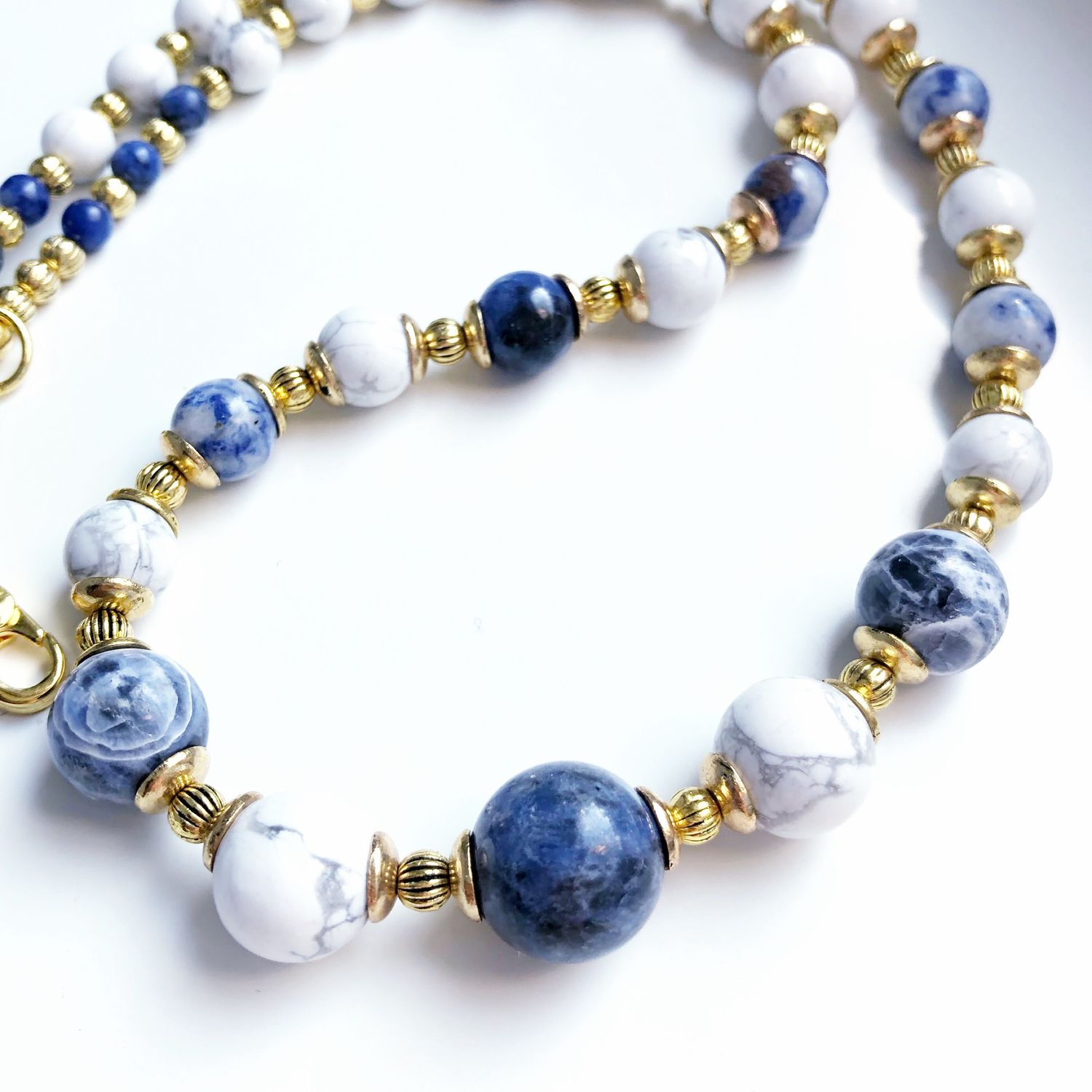 Aphrodite beads made of cacholong and sodalite, Beads2, Moscow,  Фото №1