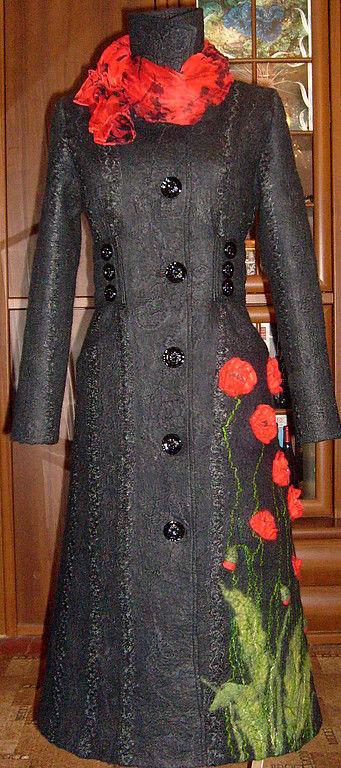 """Верхняя одежда ручной работы. Ярмарка Мастеров - ручная работа. Купить Осеннее пальто """"Маки"""". Handmade. Осеннее пальто, пальто"""
