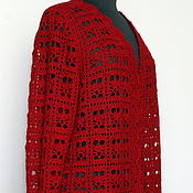 Одежда handmade. Livemaster - original item Jacket Merino mohair knitted crochet ruby. Handmade.