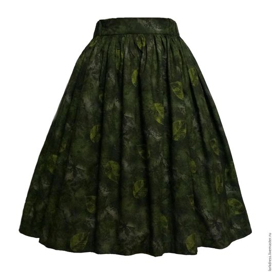 Юбки ручной работы. Ярмарка Мастеров - ручная работа. Купить Юбка миди Green leaf 60 см с карманами. Handmade.