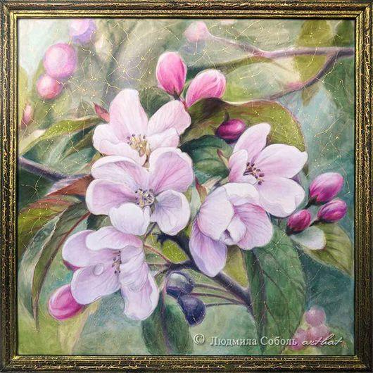 """Картины цветов ручной работы. Ярмарка Мастеров - ручная работа. Купить Батик """"Цвет вишни"""". Handmade. Цветы, панно, картина"""