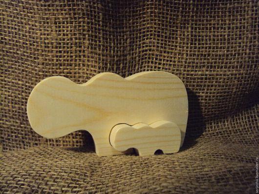 Пазл Бегемот и бегемотик, деревянная игрушка ручной работы  .