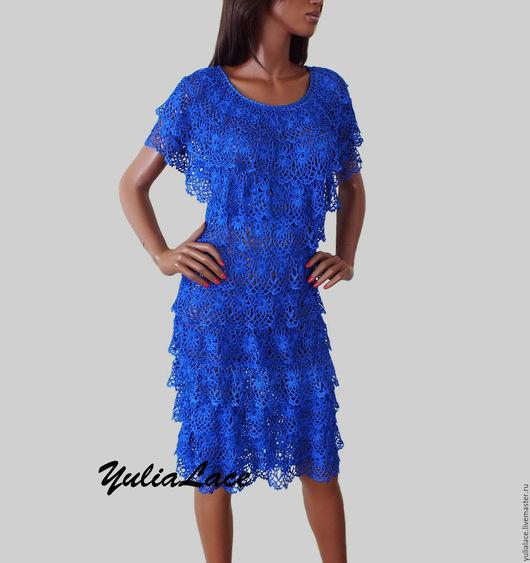 """Платья ручной работы. Ярмарка Мастеров - ручная работа. Купить Вязаное платье """"Ярко-синее"""". Handmade. Тёмно-синий"""