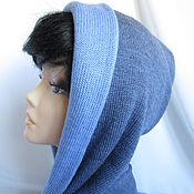 Аксессуары handmade. Livemaster - original item Hood with a short scarf grey blue womens wool. Handmade.