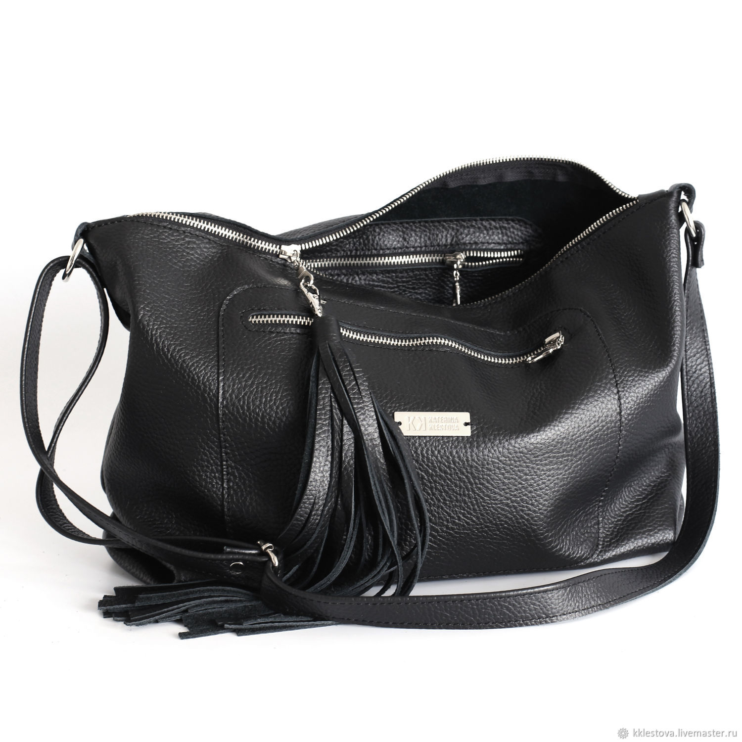 Soft black leather Bag hobo Crossbody with shoulder strap, Sacks, Moscow,  Фото №1