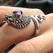 Украшения handmade. Livemaster - original item Naga ring with amethyst, garnet, peridot(choice) in silver 925. Handmade.