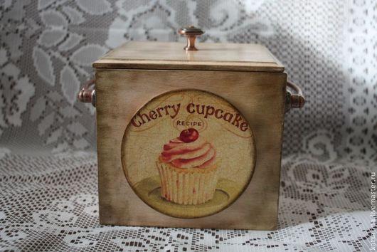 """Кухня ручной работы. Ярмарка Мастеров - ручная работа. Купить Короб для хранения """"Cherry cupcake"""". Handmade. Кремовый, Декупаж"""
