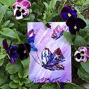 Открытки ручной работы. Ярмарка Мастеров - ручная работа Открытка с Фиолетовыми бабочками. Handmade.