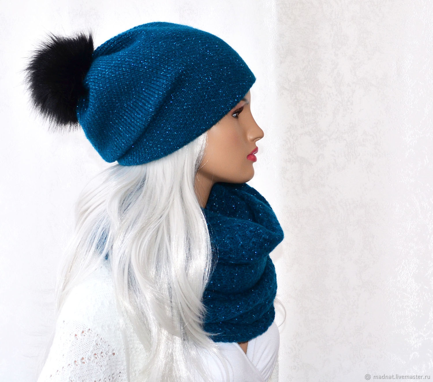 Knitted hat women's Snood set ' on the Crest of the Wave', Headwear Sets, Moscow,  Фото №1