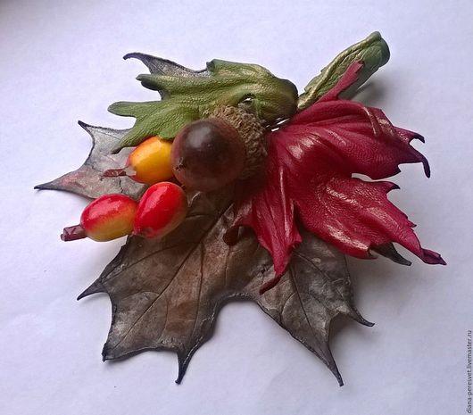 """Броши ручной работы. Ярмарка Мастеров - ручная работа. Купить Брошь """"Медная осень"""". Handmade. Разноцветный, медь, дубовые листья"""