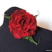 """Украшения ручной работы. Ярмарка Мастеров - ручная работа Валяная брошь """"Пушистая роза"""" Тёмно-красная. Handmade."""