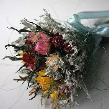 """Цветы и флористика ручной работы. Ярмарка Мастеров - ручная работа Букетик из сухоцветов """"первый снег"""" об 13см дл 18-20см. Handmade."""