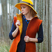"""Одежда ручной работы. Ярмарка Мастеров - ручная работа жилет валяный, двухсторонний, горчично-терракотовый """"Осень"""". Handmade."""
