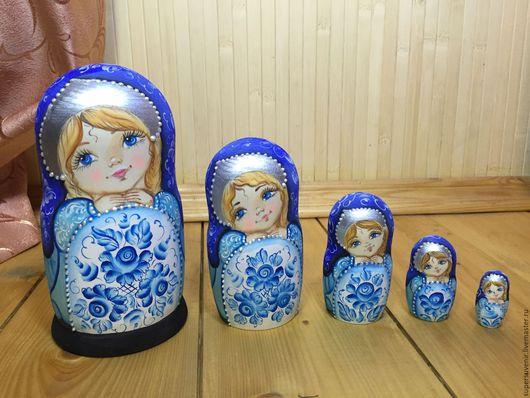 Народные куклы ручной работы. Ярмарка Мастеров - ручная работа. Купить Матрешка Гжель. Handmade. Комбинированный, матрешка расписная
