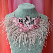 """Колье ручной работы. Ярмарка Мастеров - ручная работа Вышитое колье """"Фламинго"""". Handmade."""