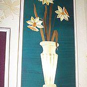 """Картины и панно ручной работы. Ярмарка Мастеров - ручная работа Картина из соломки """"Нарциссы в вазе"""". Handmade."""