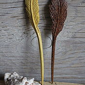 "Сувениры и подарки handmade. Livemaster - original item Sycamore Hair Stick with carving ""Feather"". Handmade."