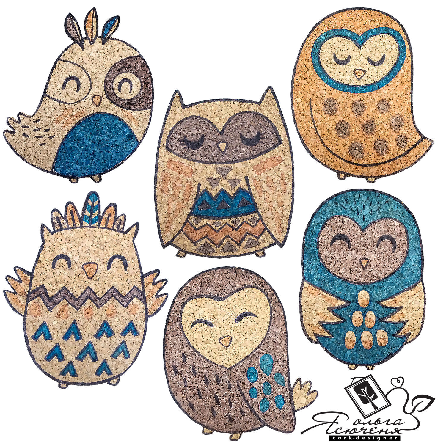 """Cork coasters """"Owls of Lapland"""" """"COFFEE OWLS"""" – shop online on"""