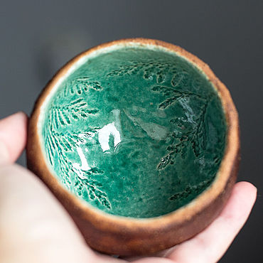 Посуда ручной работы. Ярмарка Мастеров - ручная работа Пиала керамическая Еловая. Handmade.