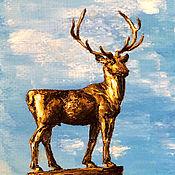 Картины и панно handmade. Livemaster - original item Oil painting of My town.Deer. Handmade.