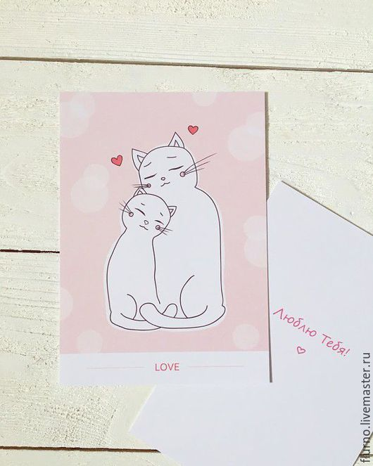 """Открытки на все случаи жизни ручной работы. Ярмарка Мастеров - ручная работа. Купить """"Котики"""". Handmade. Бледно-розовый, открытка, любовь"""